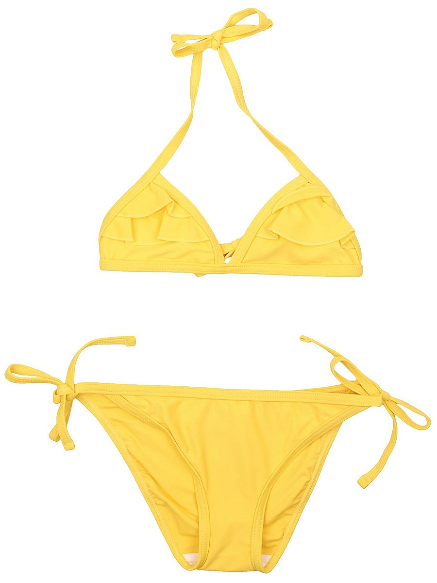 Купальник для девочки PlayToday, цвет: желтый. 152132. Размер 110/116152132Купальник - это неотъемлемая часть летнего гардероба. Быстросохнущий и эластичный материал этой модели приятен к телу. Ребенку в этом купальнике будет удобно и комфортно.