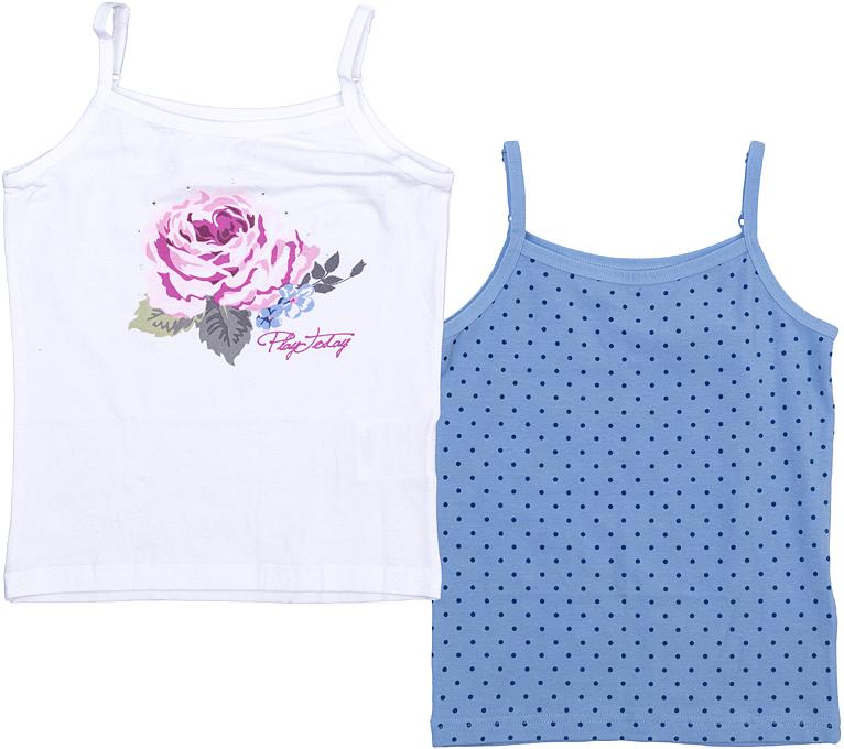 Майка для девочки PlayToday, цвет: белый, розовый, синий, 2 шт. 366005. Размер 110366005Майка для девочки PlayToday выполнена из качественного материала и оформлена оригинальным принтом.