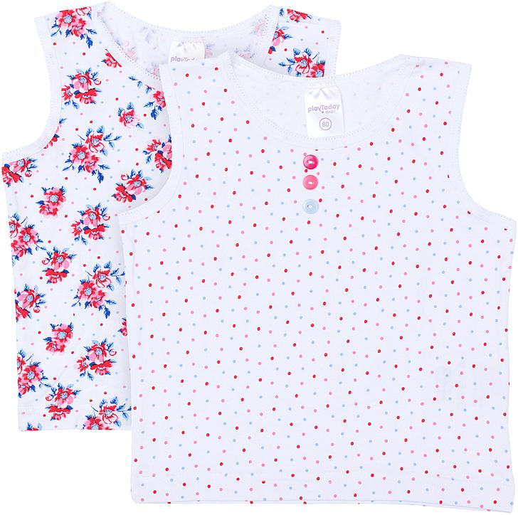 Майка для девочки PlayToday, цвет: белый, розовый, голубой, 2 шт. 368029. Размер 74368029Майка для девочки PlayToday с круглым вырезом горловины оформлена оригинальным принтом.
