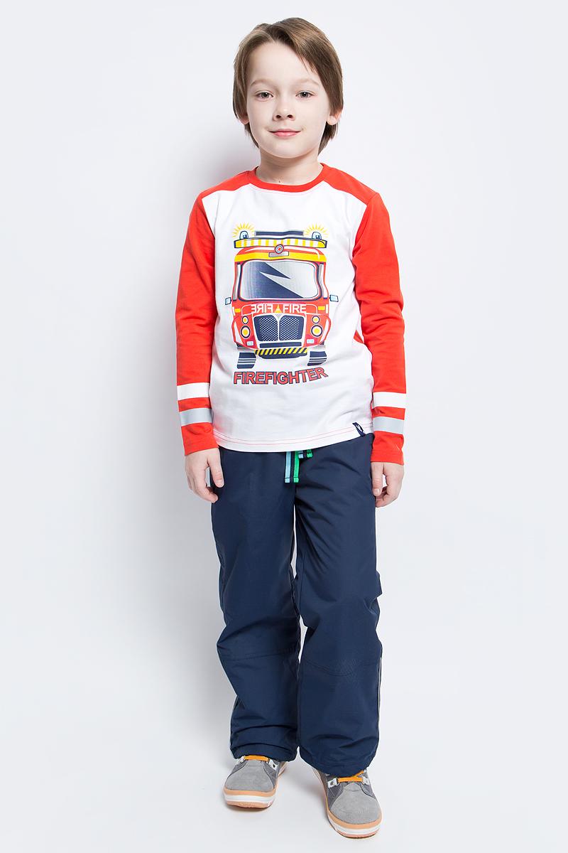 Брюки для мальчика PlayToday, цвет: темно-синий. 171005. Размер 110171005Утепленные брюки, из водоотталкивающей ткани, которые растут вместе с ребенком! Очень удачное решение - на вырост. Брюки на мягкой трикотажной резинке прекрасно подойдут для прогулок в любую погоду. В случае, если брюки окажутся великоваты - их смело можно затянуть лентой, которая расположена по контуру пояса. По низу брюк расположен регулируемый шнур - кулиска. Если вашему ребенку брюки окажутся велики, Вы смело сможете их подвернуть и затянуть шнур кулиску - даже в самой активной игре кулиска удержит брюки на нужном уровне. Светоотражатель по нижней части контура обеспечит безопасность вашего ребенка - он будет виден в темное время суток. Водоотталкивающая пропитка не позволит промокнуть, а утепленная подкладка не даст замерзнуть. Карманы снабжены удобной застежкой - липучкой.