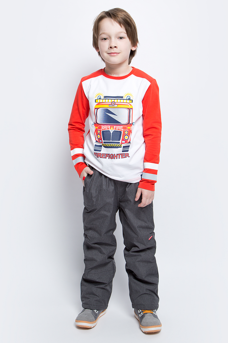 Футболка с длинным рукавом для мальчика PlayToday, цвет: белый, красный, светло-серый. 171071. Размер 116171071Футболка с длинным рукавом для мальчика PlayToday выполнена из эластичного хлопка. Модель с круглым вырезом горловины и длинными рукавами оформлена оригинальным принтом.