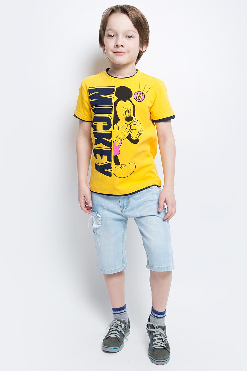 Футболка для мальчика PlayToday, цвет: желтый, черный, розовый. 671152. Размер 116671152Футболка для мальчика PlayToday выполнена из эластичного хлопка. Модель с круглым вырезом горловины и короткими рукавами оформлена оригинальным принтом.