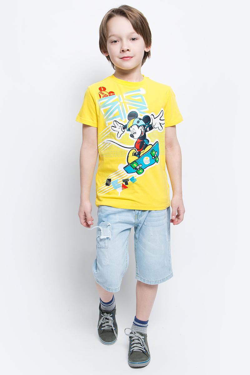 Футболка для мальчика PlayToday, цвет: желтый. 670003. Размер 128670003Футболка для мальчика PlayToday выполнена из эластичного хлопка. Модель с круглым вырезом горловины и короткими рукавами оформлена оригинальным принтом.