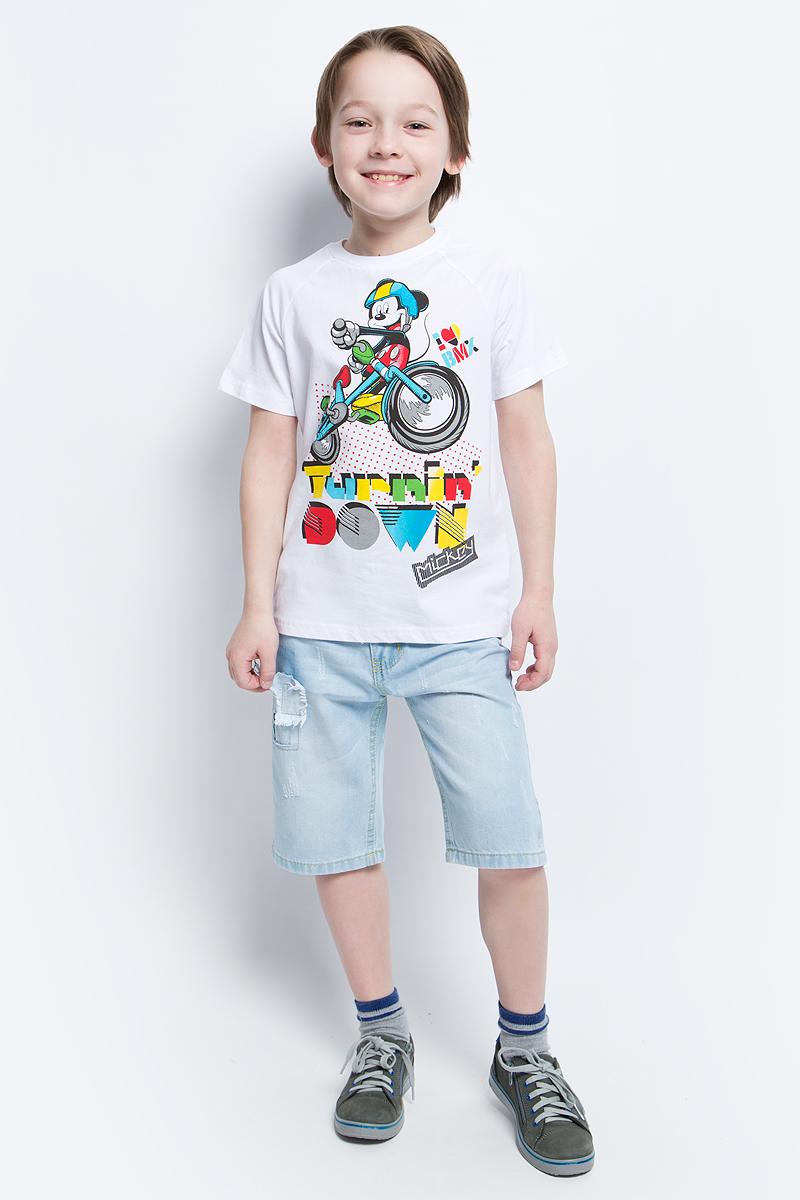 Футболка для мальчика PlayToday, цвет: белый. 670002. Размер 128670002Футболка для мальчика PlayToday выполнена из эластичного хлопка. Модель с круглым вырезом горловины и короткими рукавами оформлена оригинальным принтом.
