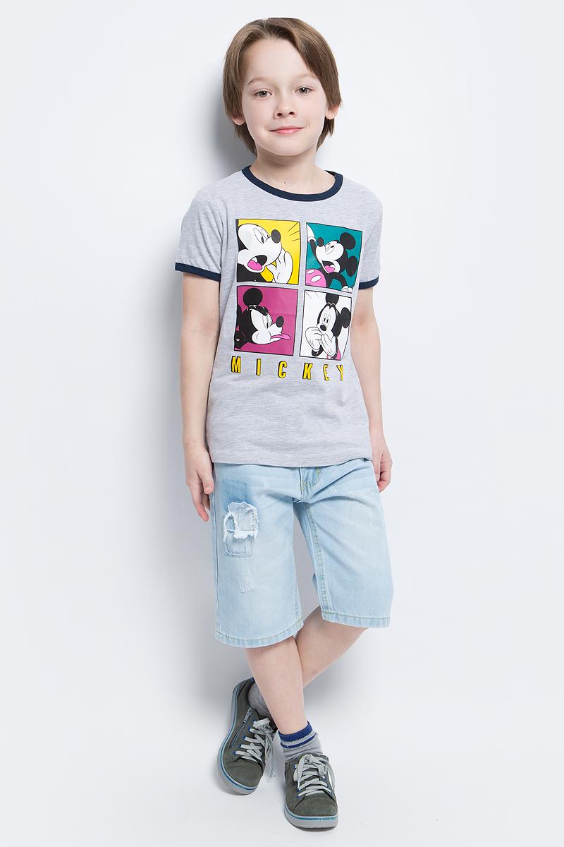 Футболка для мальчика PlayToday, цвет: серый. 671151. Размер 128671151Футболка для мальчика PlayToday выполнена из эластичного хлопка. Модель с круглым вырезом горловины и короткими рукавами оформлена оригинальным принтом.