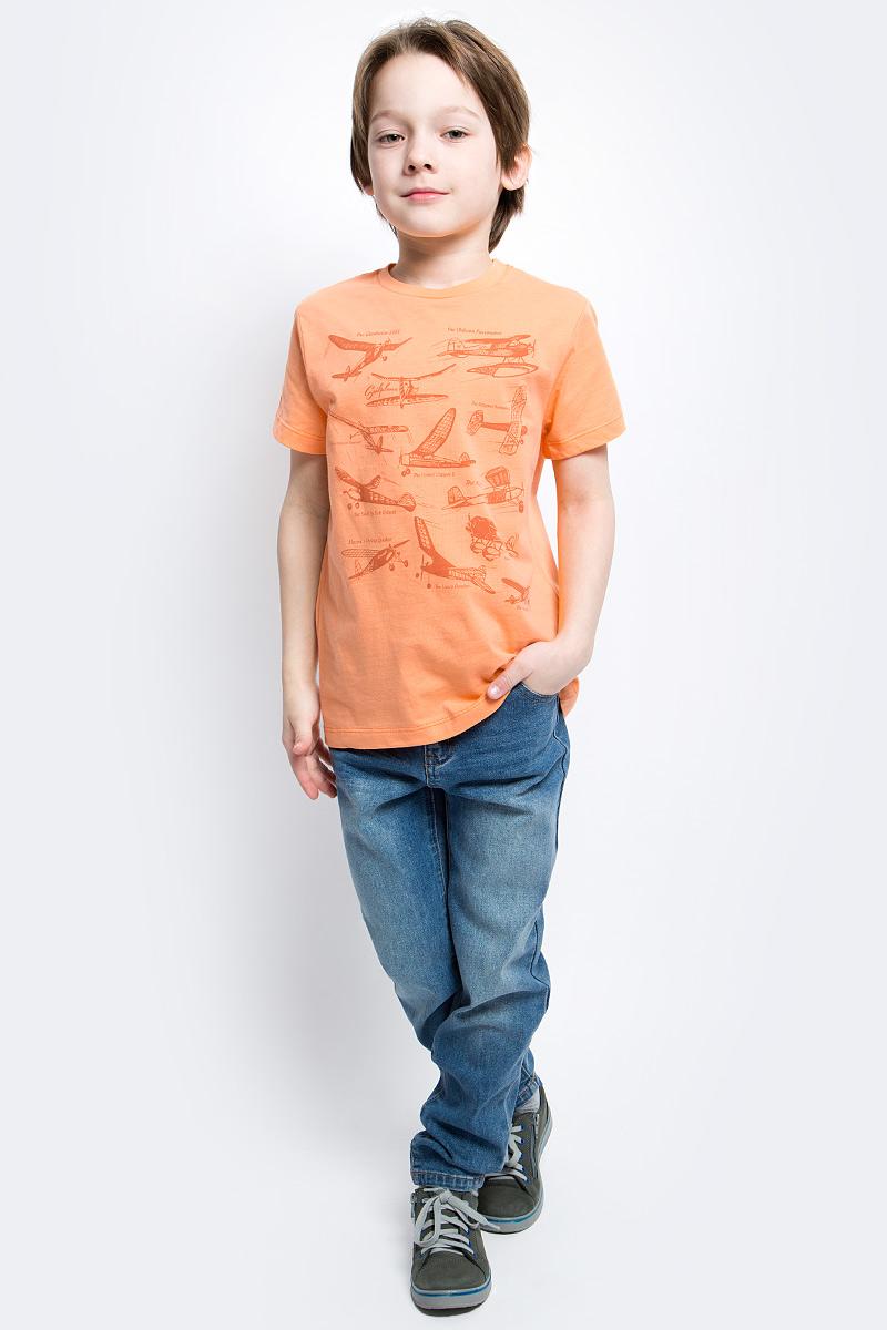 Футболка для мальчика Sela, цвет: желто-оранжевый. Ts-811/1060-7112. Размер 146, 11 летTs-811/1060-7112Футболка для мальчика Sela выполнена из натурального хлопка. Футболка с короткими рукавами и круглым вырезом горловины оформлена спереди оригинальным принтом с надписями. Вырез горловины дополнен трикотажной резинкой.