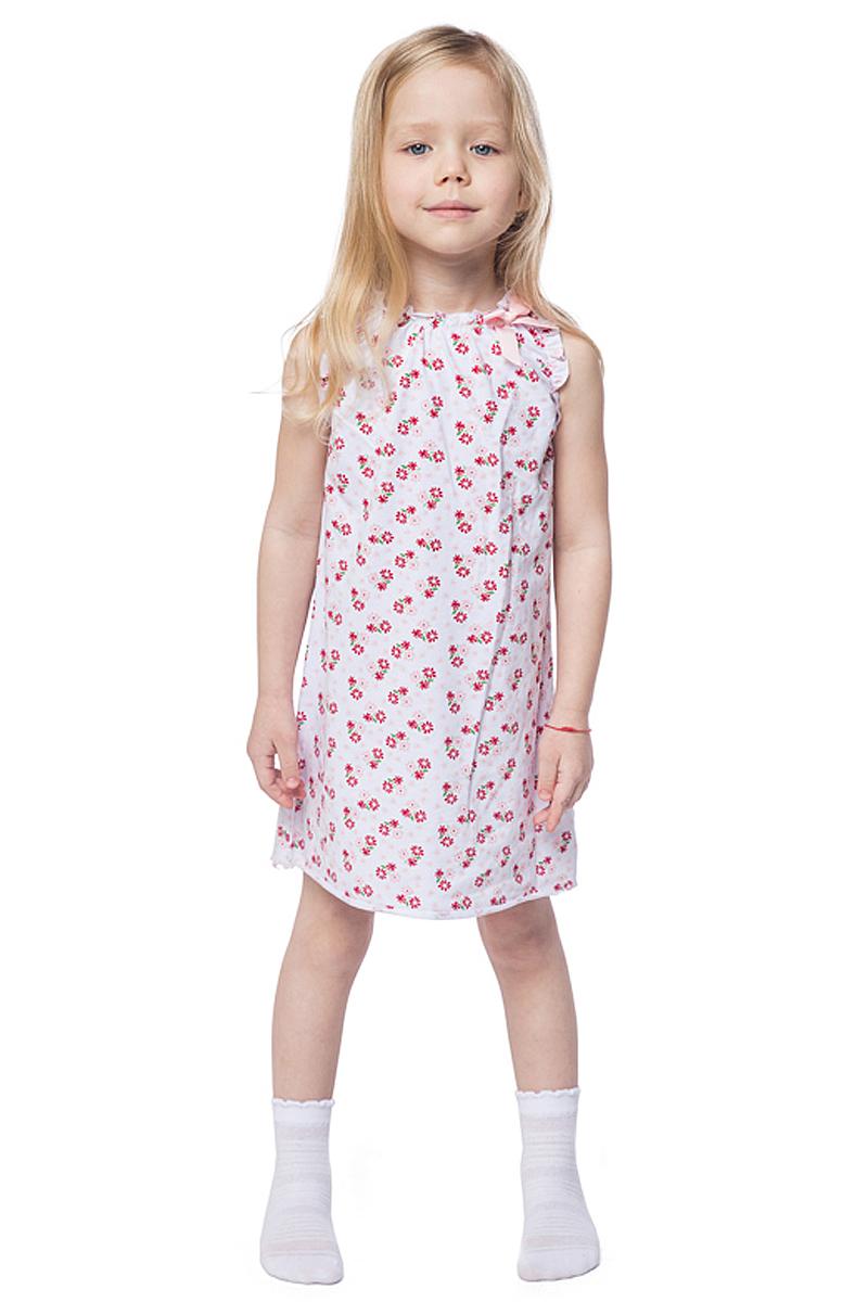 Ночная рубашка для девочки PlayToday, цвет: белый, розовый. 146006. Размер 128146006Ночная рубашка для девочки подарит не только комфорт и уют, но и понравится ребенку благодаря своему веселому и приятному дизайну. Изготовленная из эластичного хлопка, она тактильно приятна, хорошо пропускает воздух, а благодаря свободному крою не стесняет движений во сне.