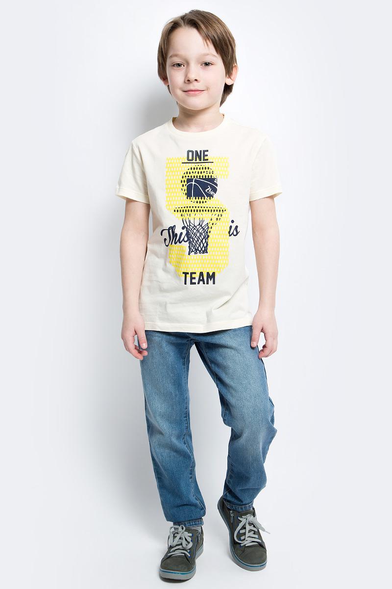 Футболка для мальчика Sela, цвет: серовато-янтарный. Ts-811/1083-7122. Размер 152Ts-811/1083-7122Стильная футболка для мальчика Sela изготовлена из натурального хлопка и оформлена оригинальным принтом. Воротник дополнен мягкой трикотажной резинкой.Яркий цвет модели позволяет создавать модные образы.