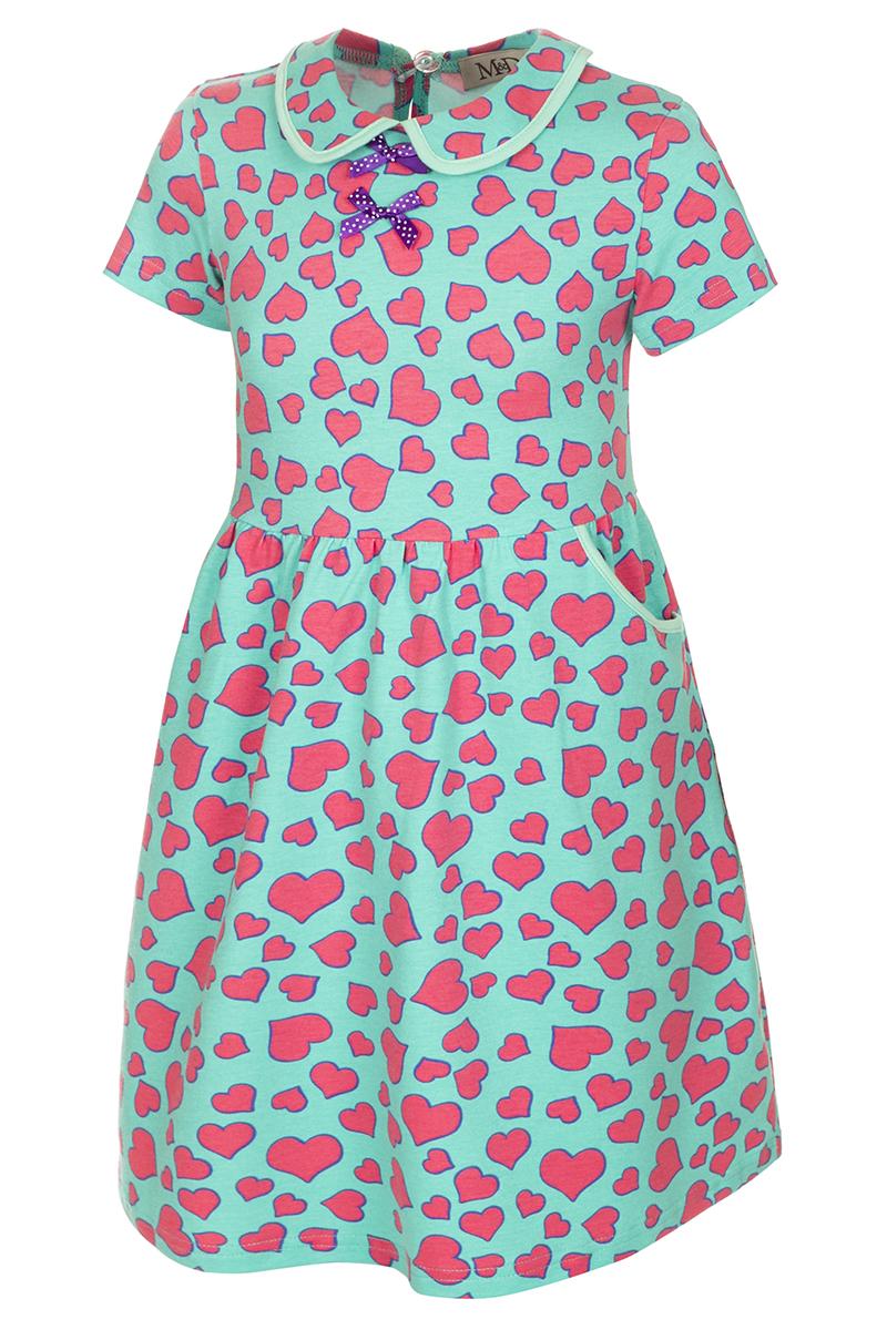 Платье для девочки M&D, цвет: мятный, розовый, фиолетовый. SJD27057M87. Размер 116SJD27057M87Платье для девочки M&D станет отличным вариантом для утренника или прогулок. Изготовленное из мягкого хлопка, оно тактильно приятное, хорошо пропускает воздух. Платье с круглым вырезом горловины, отложным воротничком и короткими рукавами застегивается по спинке на пуговицу. От линии талии заложены складочки, придающие платью пышность. По бокам платье имеет кармашки. По краям воротника и карманов проходит трикотажная бейка.Изделие оформлено ярким принтом и украшено бантиками из атласной ленты на груди.