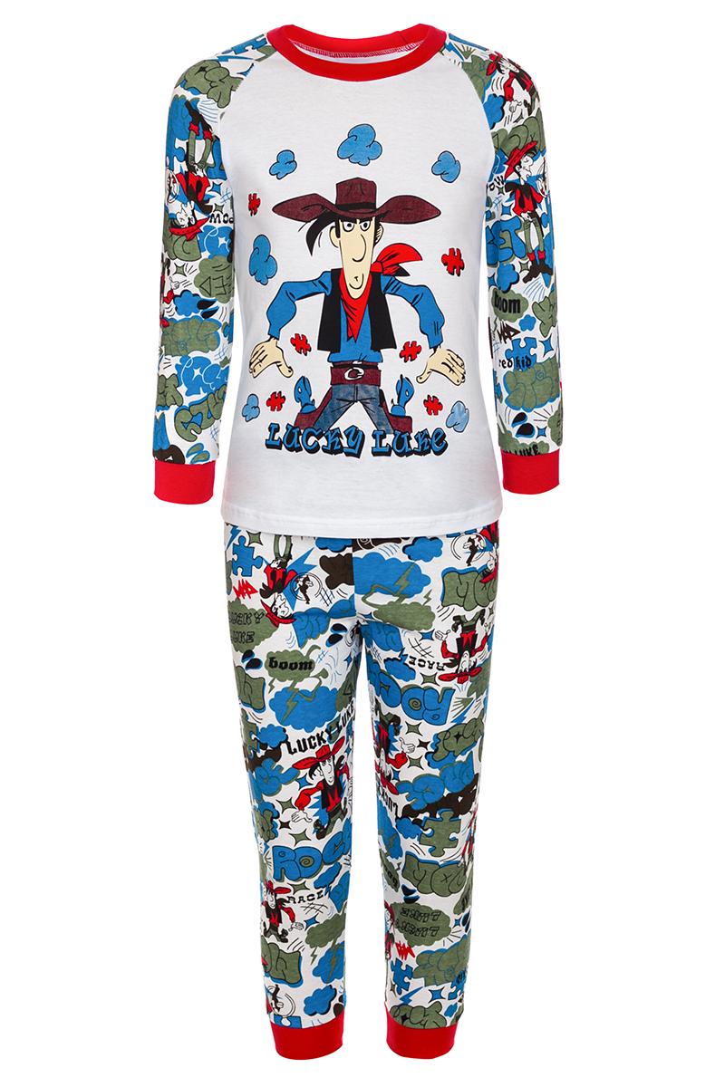 Пижама для мальчика M&D, цвет: белый, красный, мультиколор. ПЖ18080301. Размер 92ПЖ18080301Пижама для мальчика M&D превратит подготовку ко сну в приключение. Изготовленная из мягкого хлопка, она тактильно приятна, хорошо пропускает воздух, а благодаря свободному крою не стесняет движений во сне. Лонгслив с круглым вырезом горловины и принтованными рукавами-реглан в три четверти имеет однотонный цвет и оформлен крупным изображением стилизованного мультипликационного ковбоя. Штанишки, оформленные ярким принтом, имеют широкую эластичную резинку, благодаря чему они не сдавливают животик ребенка и не сползают.Манжеты и вырез горловины лонгслива, а так же низ штанин дополнены трикотажными резинками. Пижама M&D сделает подготовку ко сну долгожданным, веселым и приятным временем для вашего ребенка.