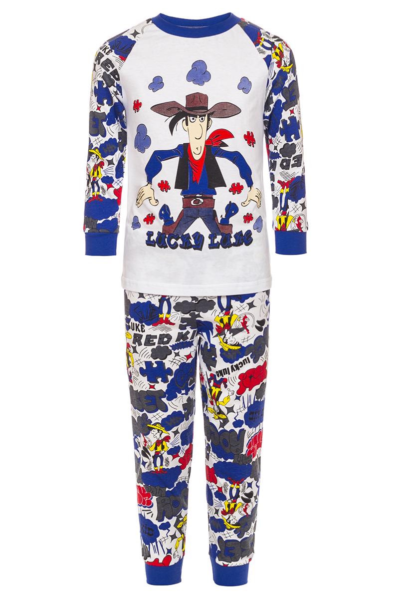 Пижама для мальчика M&D, цвет: белый, синий, мультиколор. ПЖ18080201. Размер 104ПЖ18080201Пижама для мальчика M&D превратит подготовку ко сну в приключение. Изготовленная из мягкого хлопка, она тактильно приятна, хорошо пропускает воздух, а благодаря свободному крою не стесняет движений во сне. Лонгслив с круглым вырезом горловины и принтованными рукавами-реглан в три четверти имеет однотонный цвет и оформлен крупным изображением стилизованного мультипликационного ковбоя. Штанишки, оформленные ярким принтом, имеют широкую эластичную резинку, благодаря чему они не сдавливают животик ребенка и не сползают.Манжеты и вырез горловины лонгслива, а так же низ штанин дополнены трикотажными резинками. Пижама M&D сделает подготовку ко сну долгожданным, веселым и приятным временем для вашего ребенка.