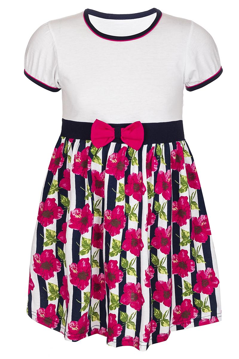 Платье для девочки M&D, цвет: черный, белый, розовый. М76529. Размер 98М76529Платье для девочки M&D станет отличным вариантом для прогулок или праздников. Изготовленное из мягкого хлопка, оно тактильно приятное, хорошо пропускает воздух. Платье с круглым вырезом горловины и короткими рукавами-фонариками, обшитыми по краям трикотажной бейкой контрастного цвета, будет хорошо смотреться на юной моднице. От линии талии заложены складочки, придающие платью пышность. Юбка платья оформлена принтом в вертикальную полоску с изображением цветков, на талии имеется текстильный бантик.