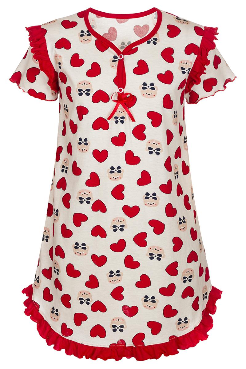 Ночная рубашка для девочки M&D, цвет: молочный, красный. М75017. Размер 98М75017Ночная рубашка для девочки M&D подарит не только комфорт и уют, но и понравится ребенку благодаря своему веселому и приятному дизайну. Изготовленная из мягкого хлопка, она тактильно приятна, хорошо пропускает воздух, а благодаря свободному крою не стесняет движений во сне.Ночная рубашка с V-образным вырезом горловины и короткими рукавами застегивается спереди на две кнопки для быстрого и удобного переодевания. Изделие оформлено принтом с изображением стилизованных мишек и сердечек. Ночная рубашка украшена рюшами по плечевым швам и подолу, бантиком из атласной ленты на груди.