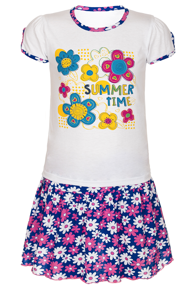 Комплект для девочки M&D: футболка, юбка, цвет: розовый, мультиколор. М16405. Размер 104М16405Комплект для девочки M&D выполнен из натурального хлопка. В комплект входит футболка и юбка. Футболка с круглым вырезом горловины украшена принтом. Юбка дополнена эластичной резинкой на талии.
