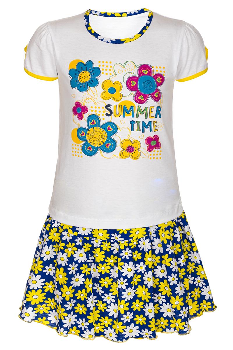 Комплект для девочки M&D: футболка, юбка, цвет: желтый, мультиколор. М16402. Размер 110М16402Комплект для девочки M&D выполнен из натурального хлопка. В комплект входит футболка и юбка. Футболка с круглым вырезом горловины украшена принтом. Юбка дополнена эластичной резинкой на талии.