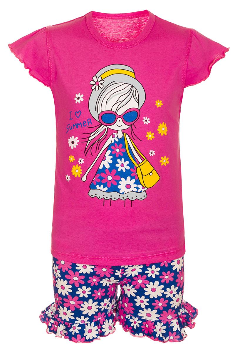 Комплект для девочки M&D: футболка, шорты, цвет: малиновый, мультиколор. М10706. Размер 110М10706Комплект для девочки M&D выполнен из натурального хлопка. В комплект входит футболка и шорты. Футболка с круглым вырезом горловины украшена принтом. Шорты дополнены эластичной резинкой на талии.