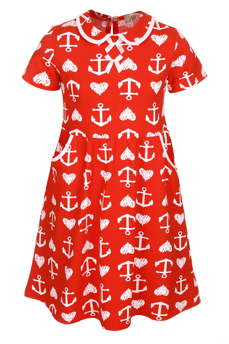 Платье для девочки M&D, цвет: красный, белый. SJD27057M07. Размер 110SJD27057M07Платье для девочки M&D станет отличным вариантом для утренника или прогулок. Изготовленное из мягкого хлопка, оно тактильно приятное, хорошо пропускает воздух. Платье с круглым вырезом горловины, отложным воротничком и короткими рукавами застегивается по спинке на пуговицу. От линии талии заложены складочки, придающие платью пышность. По бокам платье имеет кармашки. По краям воротника и карманов проходит трикотажная бейка.Изделие оформлено ярким принтом и украшено бантиками из атласной ленты на груди.