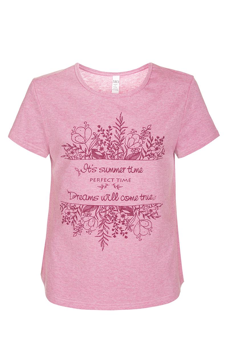 Футболка для девочки M&D, цвет: розовый, бордовый. SJF27044S05. Размер 146SJF27044S05Футболка для девочки M&D исполнена из 100% натурального хлопка.Модель имеет круглый вырез горловины, короткие рукава.Футболка оформлена принтом с надписью на английском языке. Нежная к телу и приятно оформленная текстильная футболка обязательно понравится ребенку и подарит ему комфорт.