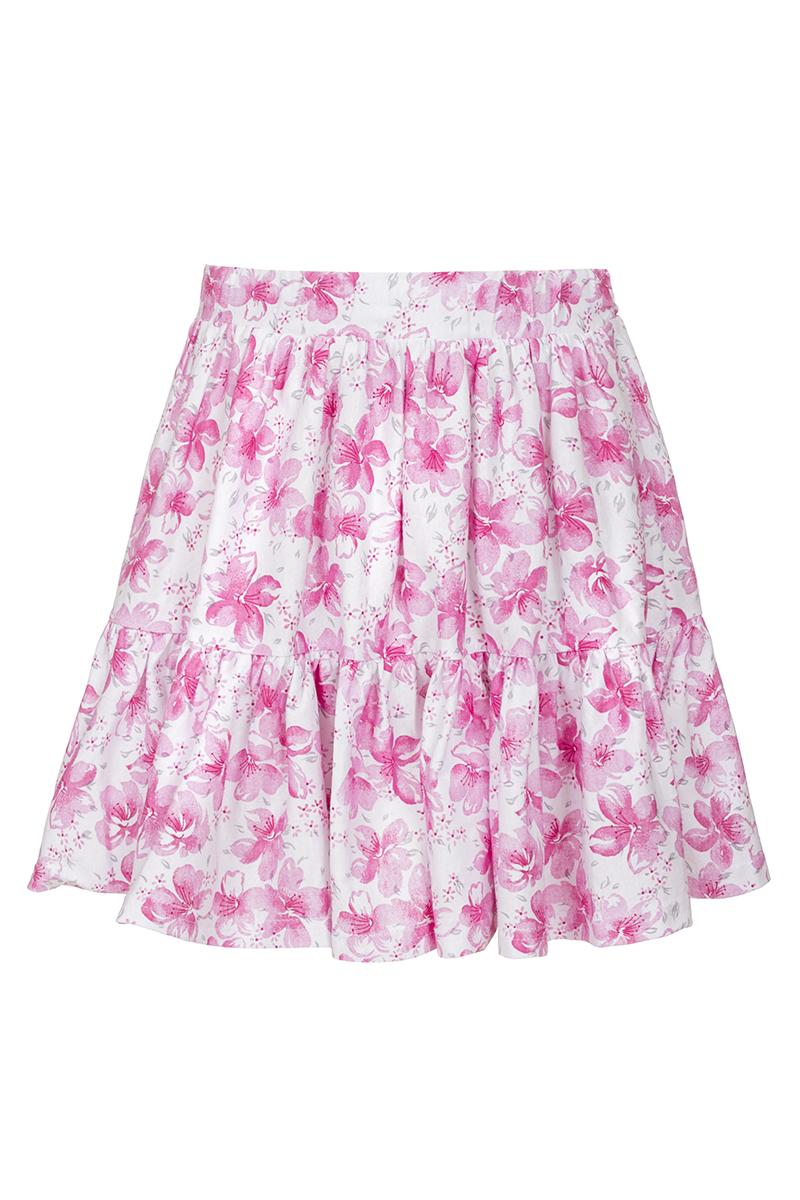 Юбка для девочки M&D, цвет: белый, розовый. SJA27050M77. Размер 122SJA27050M77Юбка для девочки M&D исполнена из 100% натурального хлопка.Модель имеет мягкую резинку, надежно фиксирующую юбку и не сдавливающую животик ребенка. Ткань оформлена ярким принтом в цветочек. Модная и не стесняющая движений юбка обязательно понравится ребенку и подарит ему комфорт.