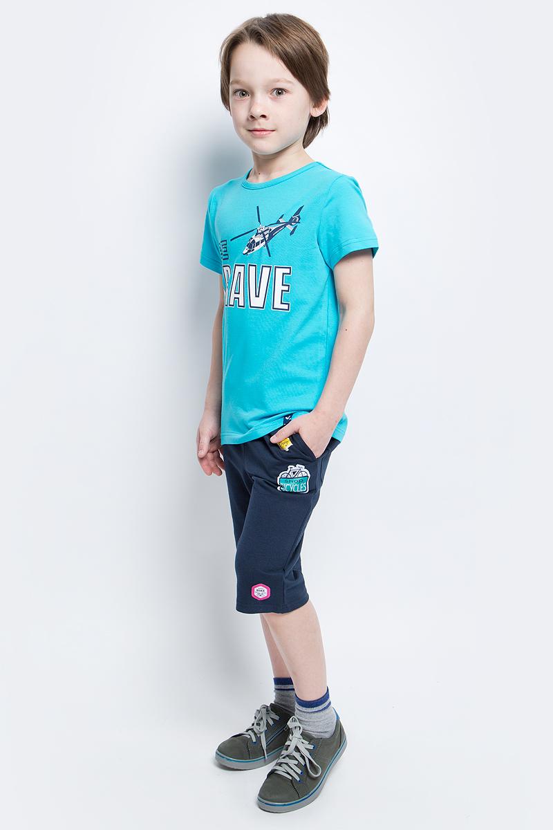 Бриджи для мальчика PlayToday, цвет: темно-синий, желтый, голубой, розовый. 171171. Размер 98171171Удлиненные шорты из натуральной ткани идеально подойдут для отдыха и прогулок. Модель на мягкой резинке с регулируемым шнуром - кулиской, декорирована яркими аппликациями.