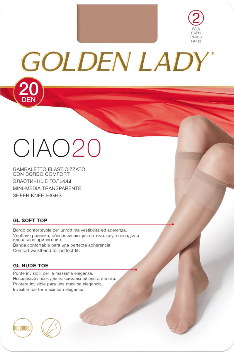Гольфы Golden Lady Ciao 20 New, цвет: Daino (загар), 2 пары. Размер универсальныйCiao 20 NEWТонкие эластичные гольфы от Golden Lady с комфортными швами. Плотность 20 DEN.