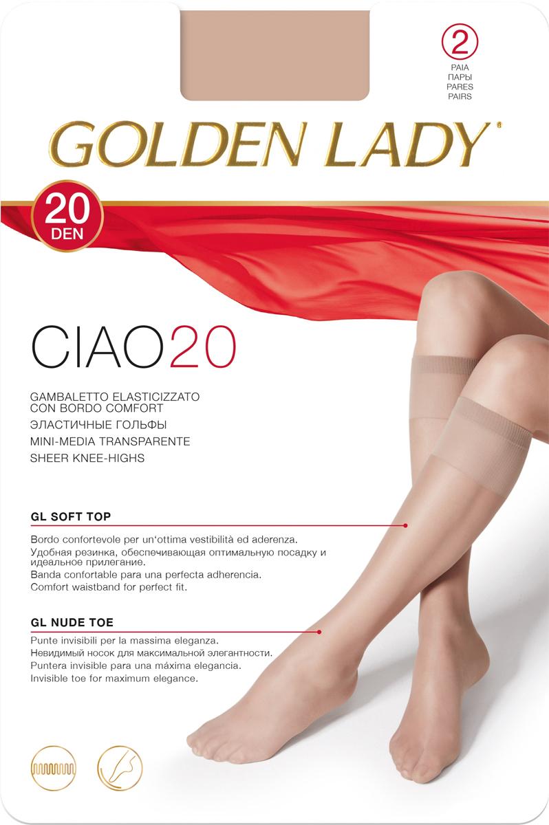 Гольфы Golden Lady Ciao 20 New, цвет: Melon (телесный), 2 пары. Размер универсальныйCiao 20 NEWТонкие эластичные гольфы от Golden Lady с комфортными швами. Плотность 20 DEN.