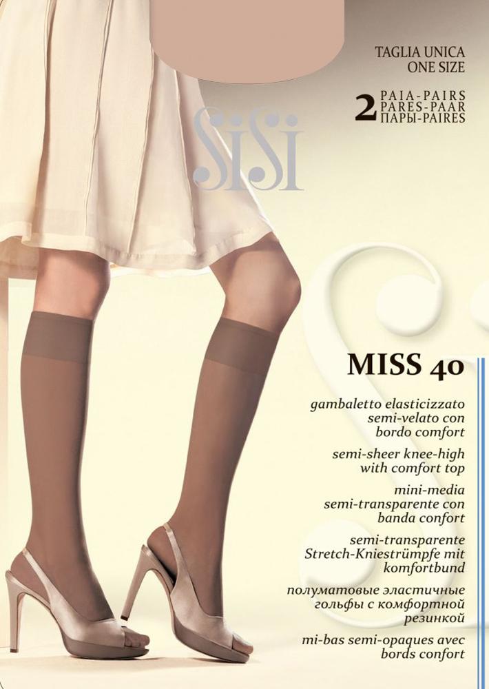 Гольфы Sisi Miss 40 New, цвет: Miele (телесный), 2 пары. Размер универсальныйMiss 40 NEWЭластичные гольфы Sisi с комфортной резинкой и невидимым мыском. Плотность 40 DEN.