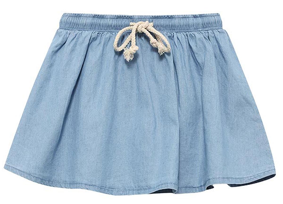 Юбка для девочки Sela, цвет: голубой джинс. SKJ-538/269-7234. Размер 110, 5 летSKJ-538/269-7234Легкая джинсовая юбка для девочки Sela выполнена из натурального хлопка. Модель мини-длины расклешенного кроя имеет пояс на мягкой резинке, дополнительно регулируемый шнурком. Юбка подойдет для прогулок и дружеских встреч и станет отличным дополнением гардероба. Мягкая ткань комфортна и приятна на ощупь.
