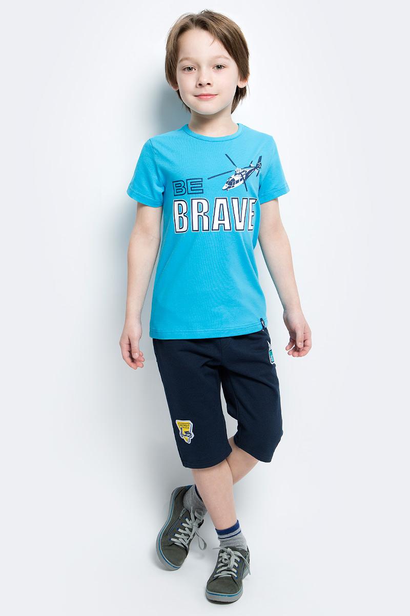 Футболка для мальчика PlayToday, цвет: голубой, белый, темно-синий. 171078. Размер 104171078Футболка для мальчика PlayToday выполнена из эластичного хлопка. Модель с круглым вырезом горловины и короткими рукавами оформлена оригинальным принтом.