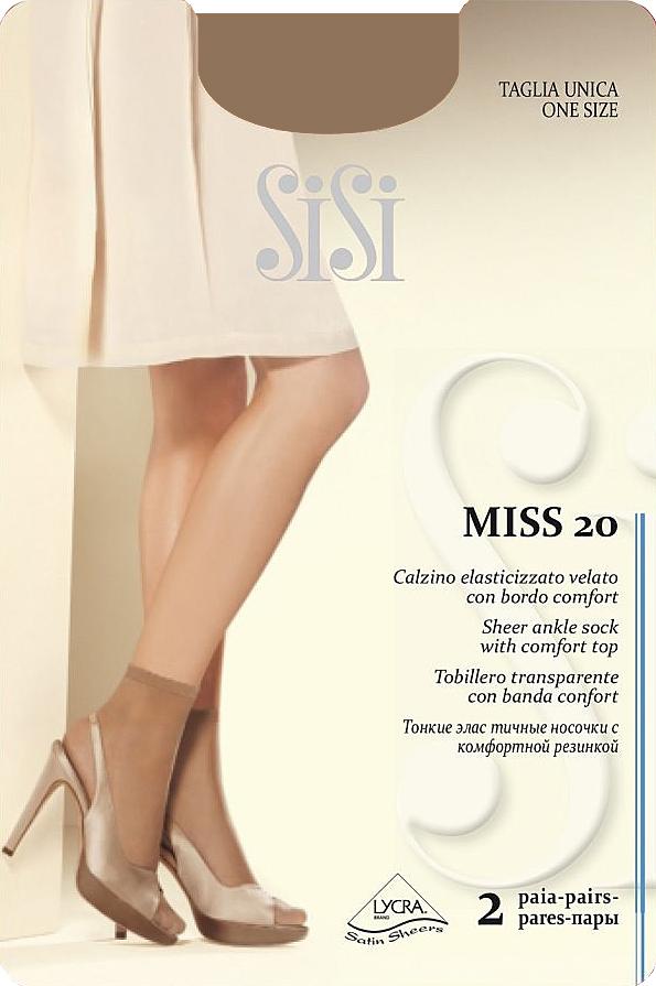 Носки женские Sisi Miss 20 New, цвет: Daino (загар), 2 пары. Размер универсальныйMiss 20 NEWТонкие эластичные носочки Sisi, с комфортной резинкой и невидимым мыском.