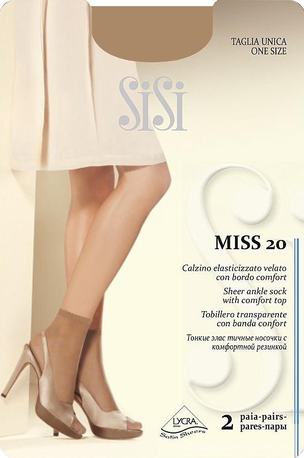 Носки женские Sisi Miss 20 New, цвет: Miele (телесный), 2 пары. Размер универсальныйMiss 20 NEWТонкие эластичные носочки Sisi, с комфортной резинкой и невидимым мыском.