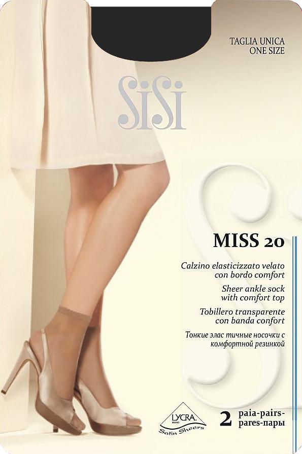 Носки женские Sisi Miss 20 New, цвет: Nero (черный), 2 пары. Размер универсальныйMiss 20 NEWТонкие эластичные носочки Sisi, с комфортной резинкой и невидимым мыском.