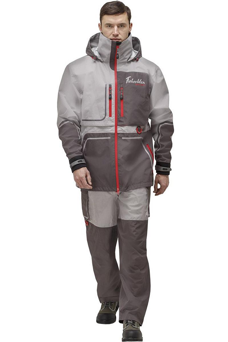 Куртка рыболовная мужская FisherMan Nova Tour Коаст Prime, цвет: серый, красный. 95937-55. Размер XXXXL (60)95937-55Практичная и надежная куртка FisherMan Nova Tour выполнена специально для рыбалки. Куртка с воротником-стойкой и съемным капюшоном застегивается на пластиковую молнию. Изделие дополнено врезными карманами на молниях. Такая куртка, пожалуй, лучшая защита от непогоды.