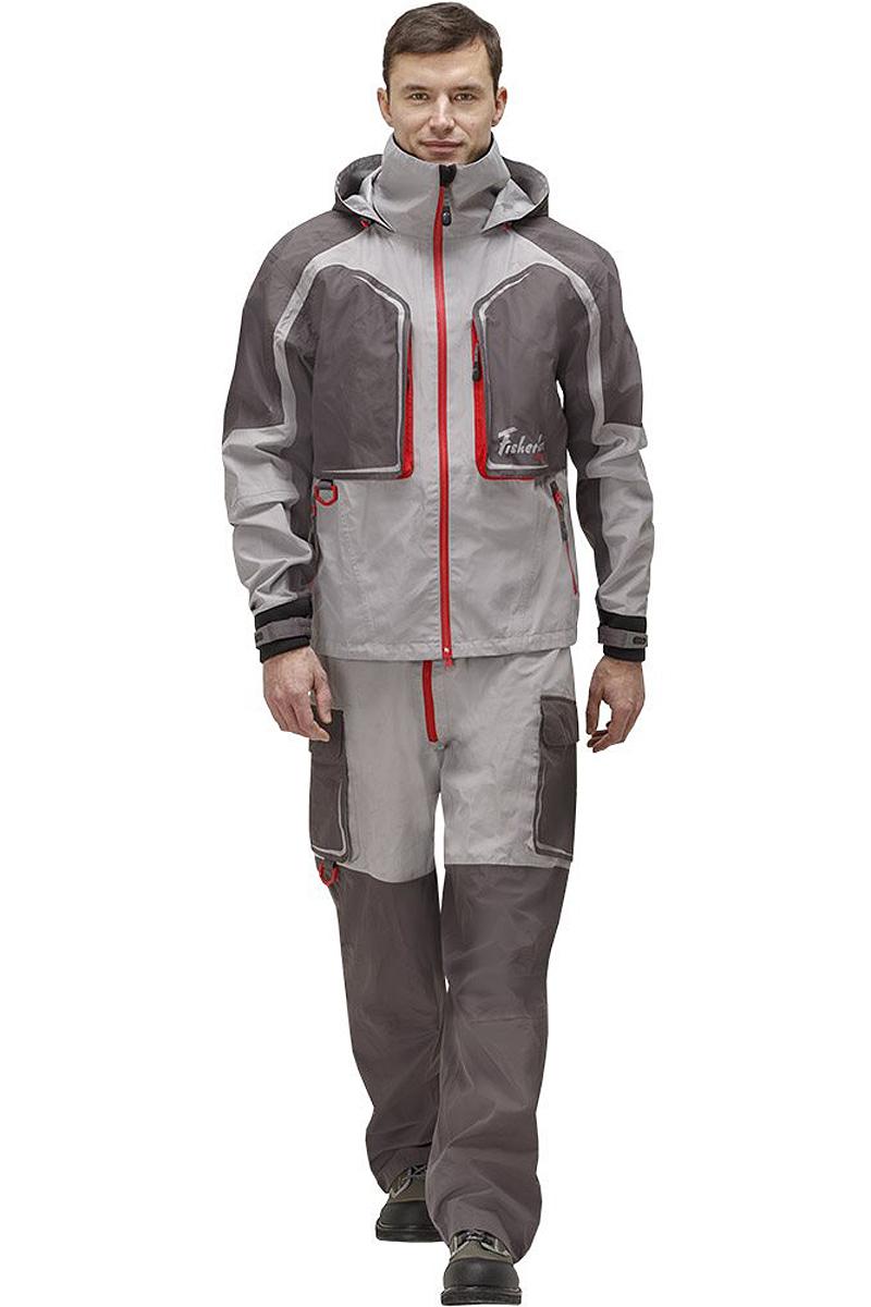 Куртка рыболовная мужская FisherMan Nova Tour Риф Prime, цвет: серый, красный. 95938-55. Размер M (50)95938-55Практичная и надежная куртка FisherMan Nova Tour выполнена специально для рыбалки. Куртка с воротником-стойкой и съемным капюшоном застегивается на пластиковую молнию. Изделие дополнено карманами. Такая куртка, пожалуй, лучшая защита от непогоды.