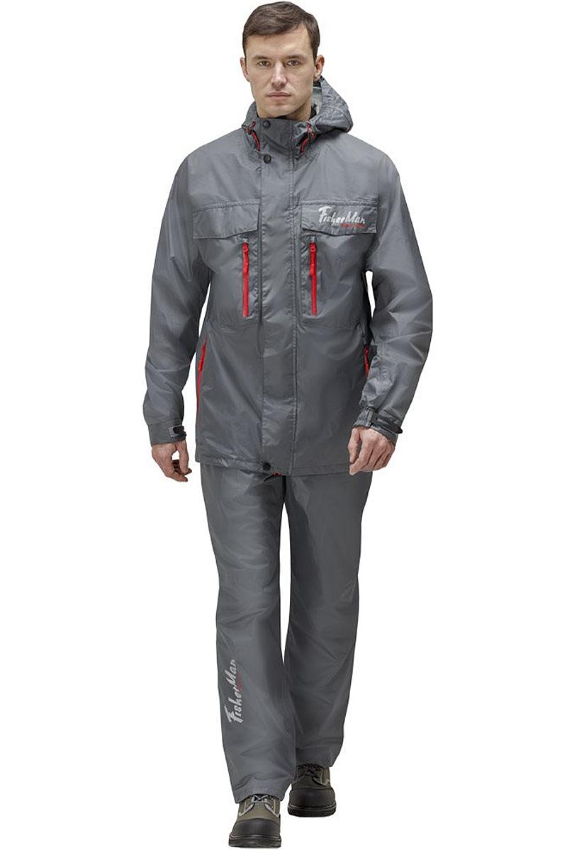 Куртка рыболовная мужская FisherMan Nova Tour Риф V2, цвет: серый. 95935-911. Размер XL (54)95935-911Практичная и надежная куртка FisherMan Nova Tour выполнена специально для рыбалки из качественного полиэстера. Куртка с воротником-стойкой и капюшоном застегивается на молнию и планку с кнопками. Изделие дополнено карманами. Такая куртка, пожалуй, лучшая защита от непогоды.