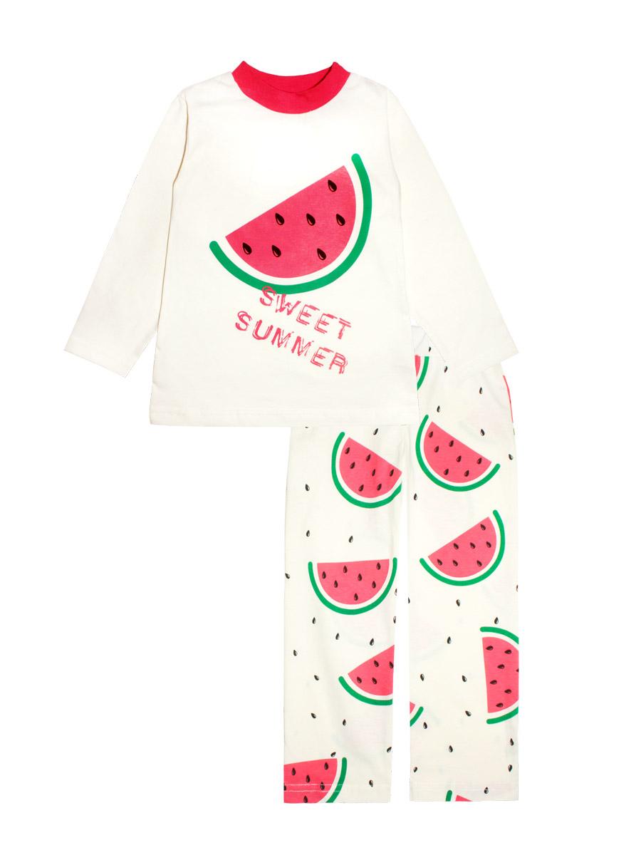 Пижама для девочки КотМарКот, цвет: белый, красный. 16637. Размер 11616637Пижама для девочки КотМарКот изготовлена из натурального хлопка и состоит из кофточки и брючек. Кофточка выполнена с длинными рукавами и удобным круглым воротом. Штанишки на талии собраны на эластичную резинку. Пижама оформлена оригинальным термопринтом.