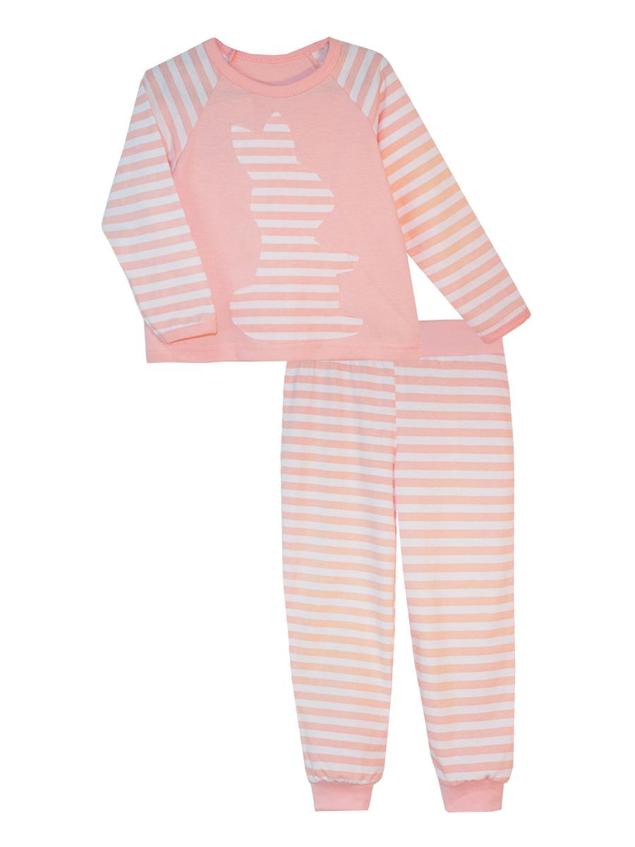Пижама для девочки КотМарКот, цвет: белый, розовый. 16512. Размер 12216512Пижама для девочки КотМарКот выполнена из натурального хлопка и состоит из кофточки и брючек. Кофточка выполнена с длинными рукавами и удобным круглым воротом. Штанишки на талии собраны на эластичную резинку. Кофточка оформлена крупной оригинальной аппликацией. Манжеты штанишек отделаны эластичными мягкими резинками.