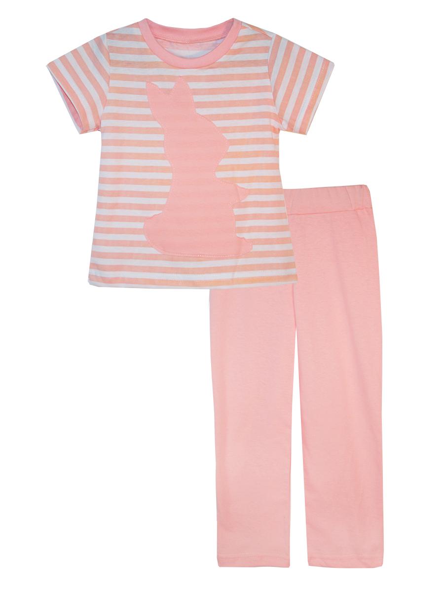 Пижама для девочки КотМарКот, цвет: белый, розовый. 16712. Размер 12816712Пижама для девочки КотМарКот выполнена из натурального хлопка и состоит из футболки и брючек. Футболка выполнена с короткими рукавами и удобным круглым воротом. Штанишки на талии собраны на эластичную резинку. Футболка оформлена крупной однотонной аппликацией.
