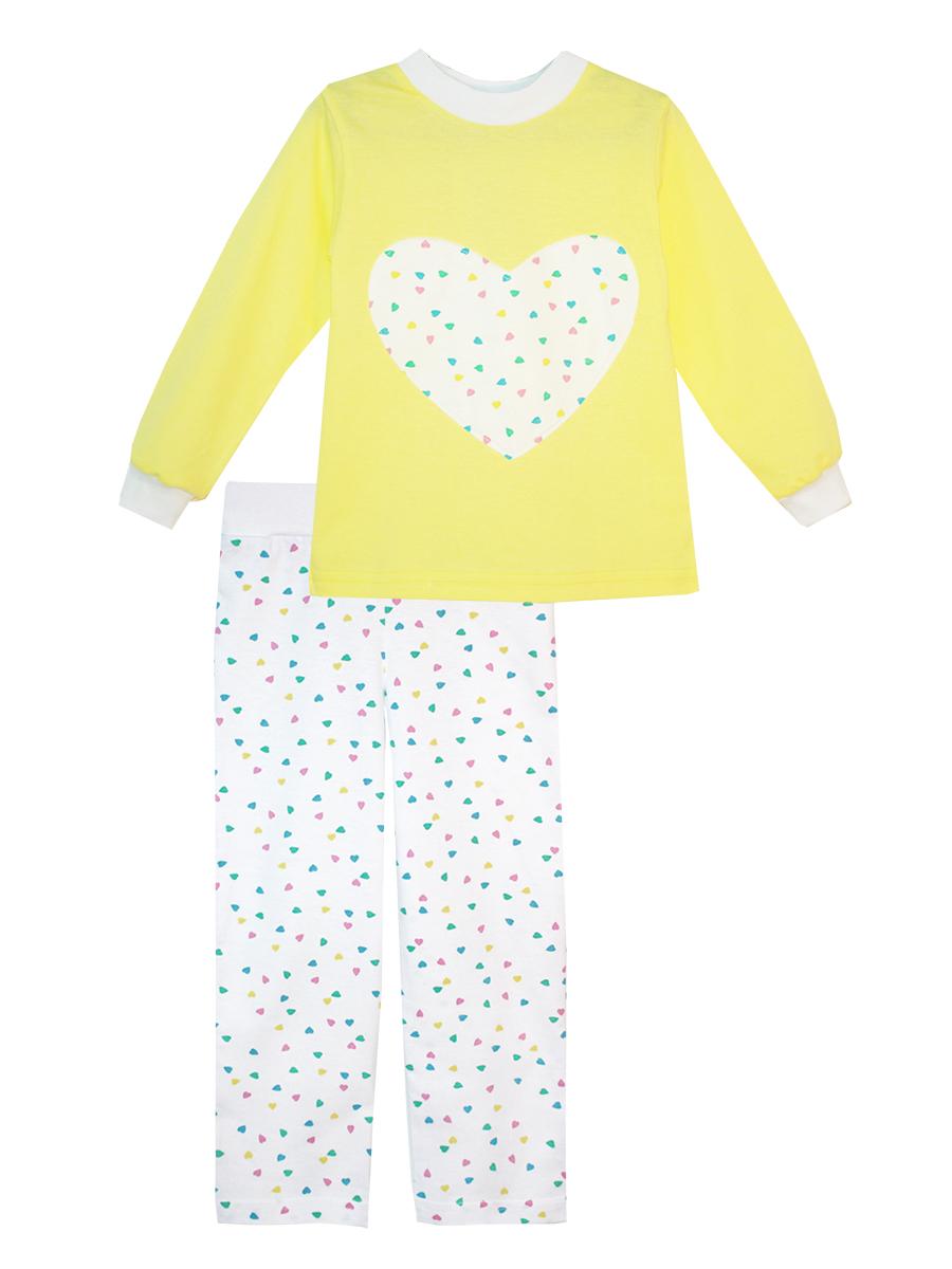 Пижама для девочки КотМарКот, цвет: желтый, белый. 16614. Размер 12216614Пижама для девочки КотМарКот изготовлена из натурального хлопка и состоит из кофточки и брючек. Кофточка выполнена с длинными рукавами и удобным круглым воротом. Штанишки на талии собраны на эластичную резинку. Кофточка оформлена крупной оригинальной аппликацией в виде сердца. Манжеты рукавов и горловина кофты отделаны эластичными мягкими резинками.