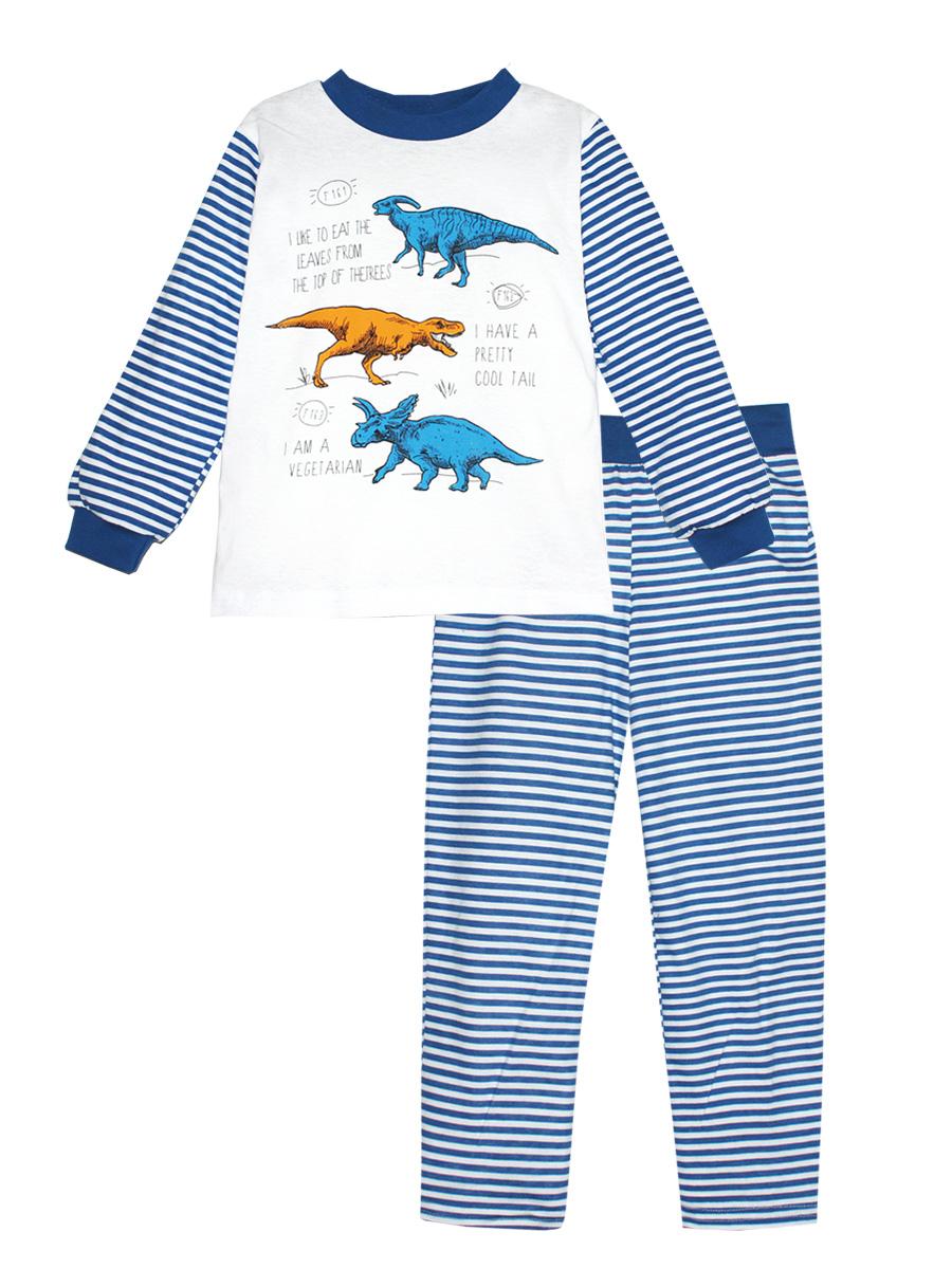 Пижама для мальчика КотМарКот, цвет: белый, синий. 16611. Размер 9816611Пижама для мальчика КотМарКот выполнена из натурального хлопка и состоит из кофточки и брючек в полоску. Кофточка выполнена с длинными рукавами и удобным круглым воротом. Штанишки на талии собраны на эластичную резинку. Кофточка дополнена манжетами на рукавах и оформлена оригинальным принтом с динозаврами.