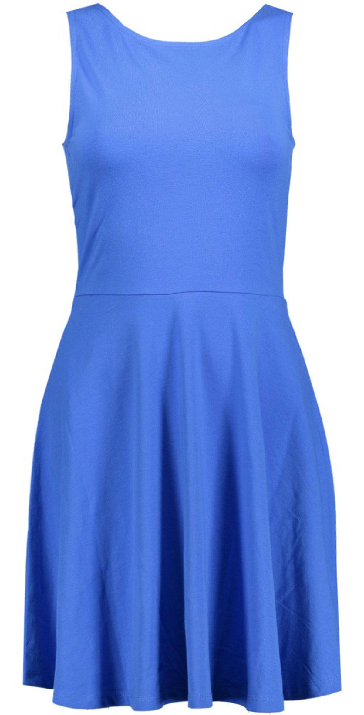 Платье Only, цвет: синий. 15134848_Night Sky. Размер S (42/44)15134848_Night SkyЭлегантное платье Only выполнено из хлопка с небольшим добавлением эластана. Модель приталенного силуэта с круглым вырезом горловины, отрезной талией и без рукавов. На спинке платье имеет глубокий V-образный вырез. Стильное платье подчеркнет достоинства вашей фигуры.