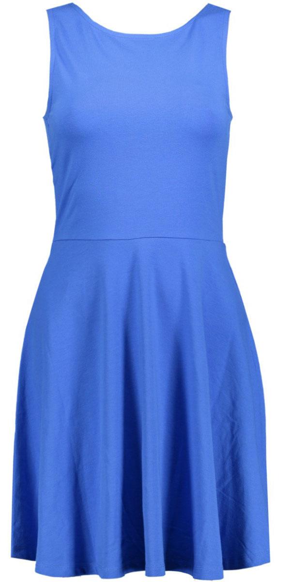 Платье Only, цвет: синий. 15134848_Night Sky. Размер XS (40/42)15134848_Night SkyЭлегантное платье Only выполнено из хлопка с небольшим добавлением эластана. Модель приталенного силуэта с круглым вырезом горловины, отрезной талией и без рукавов. На спинке платье имеет глубокий V-образный вырез. Стильное платье подчеркнет достоинства вашей фигуры.