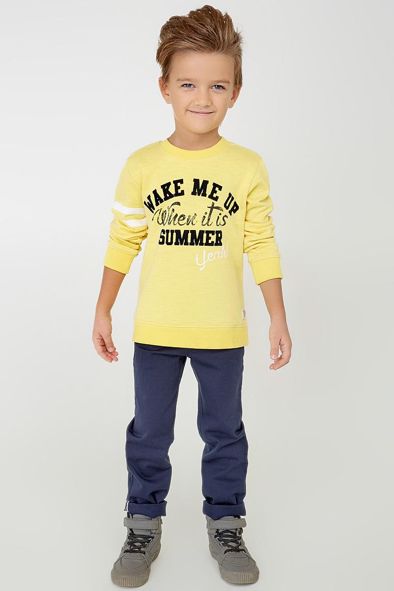 Свитшот для мальчика Acoola Laurel, цвет: желтый. 20100310001_1200. Размер 12220100310001_1200Стильный свитшот Acoola Laurel идеально подойдет вашему юному моднику. Изготовленный из хлопка с добавлением полиэстера, он очень мягкий, тактильно приятный, не сковывает движения и позволяет коже дышать. Модель с длинными рукавами и круглым вырезом горловины. Вырез горловины и низ изделия дополнены трикотажными резинками. Свитшот спереди украшен оригинальным принтом. Такой свитшот станет замечательным дополнением к детскому гардеробу, он обеспечит ребенку тепло и комфорт!