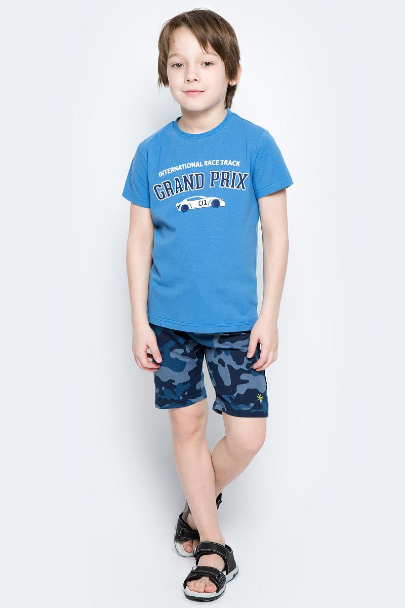 Футболка для мальчика PlayToday, цвет: голубой, белый, темно-синий. 171023. Размер 104171023Футболка для мальчика PlayToday выполнена из эластичного хлопка. Модель с круглым вырезом горловины и короткими рукавами оформлена оригинальным принтом.