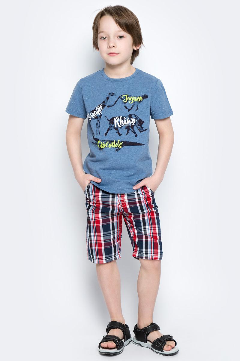 Шорты для мальчика PlayToday, цвет: черный, серый, светло-серый, красный. 171153. Размер 104171153Шорты PlayToday из натурального хлопка яркой стильной расцветки идеально подойдут для отдыха и прогулок. Модель со шлевками. При необходимости можно использовать ремень. Шорты оформлены принтом в клетку.