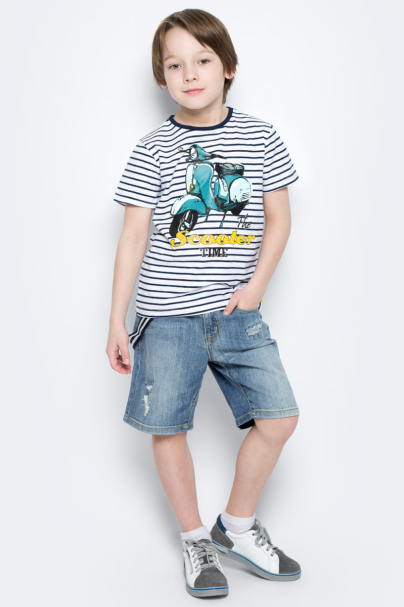 Шорты для мальчика PlayToday, цвет: синий. 171157. Размер 116171157Удлиненные шорты PlayToday из натуральной джинсовой ткани с прорезями и эффектом потертости идеально подойдут для отдыха и прогулок. Модель со шлевками, при необходимости можно использовать ремень. В качестве декора предлагается стильный пояс на карабинах.