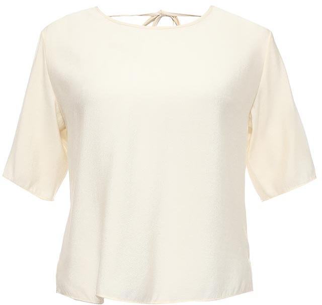 Блуза женская Sela, цвет: гардения. Tws-112/1216-7224. Размер 50Tws-112/1216-7224Оригинальная женская блуза Sela выполнена из качественного легкого материала и оформлена V-образным вырезом с завязками на спинке. Модель прямого кроя с рукавами длиной 3/4 подойдет для прогулок и дружеских встреч, будет отлично сочетаться с джинсами и брюками. Воротник и манжеты рукавов дополнены мягкой эластичной бейкой. Мягкая ткань на основе вискозы и нейлона комфортна и приятна на ощупь.
