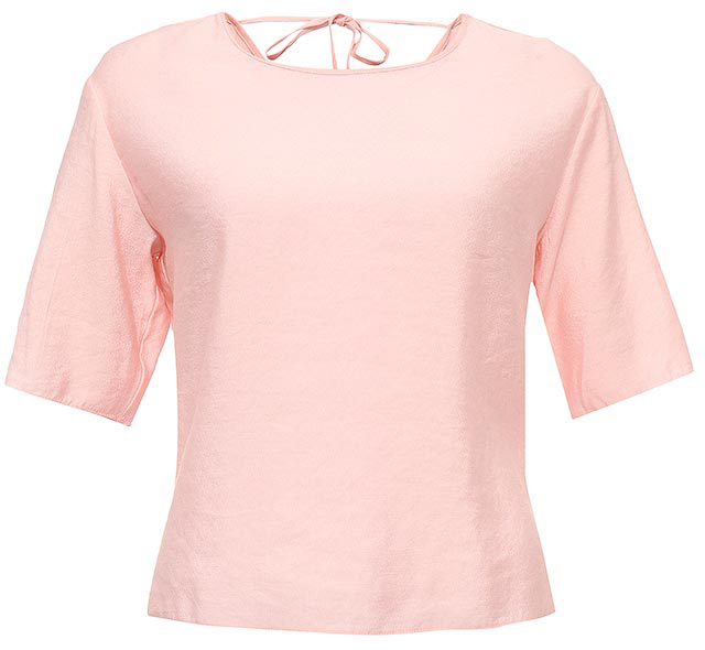 Блуза женская Sela, цвет: светлый персик. Tws-112/1216-7224. Размер 42Tws-112/1216-7224Оригинальная женская блуза Sela выполнена из качественного легкого материала и оформлена V-образным вырезом с завязками на спинке. Модель прямого кроя с рукавами длиной 3/4 подойдет для прогулок и дружеских встреч, будет отлично сочетаться с джинсами и брюками. Воротник и манжеты рукавов дополнены мягкой эластичной бейкой. Мягкая ткань на основе вискозы и нейлона комфортна и приятна на ощупь.