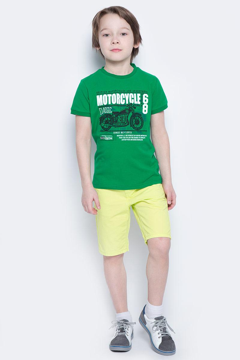 Футболка для мальчика PlayToday, цвет: зеленый, белый, черный. 171019. Размер 110171019Футболка для мальчика PlayToday выполнена из эластичного хлопка. Модель с круглым вырезом горловины и короткими рукавами оформлена оригинальным принтом.
