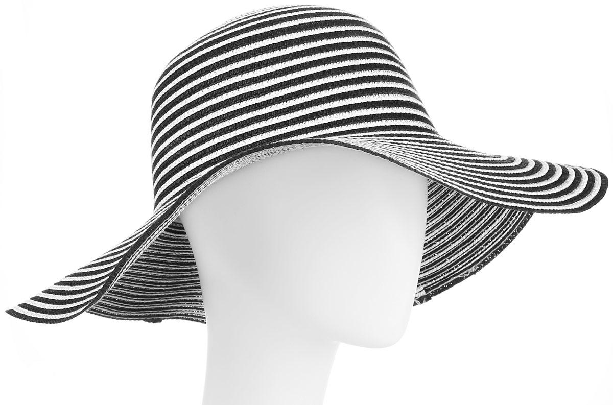 Шляпа женская Maxval, цвет: черный. HtW100279. Размер 57HtW100279Модная шляпа Maxval выполнена из качественной бумажной соломки. Шляпа с широкими полями дополнена сзади бантом в тон шляпке. Эта модель станет отличным аксессуаром и дополнит ваш повседневный образ.